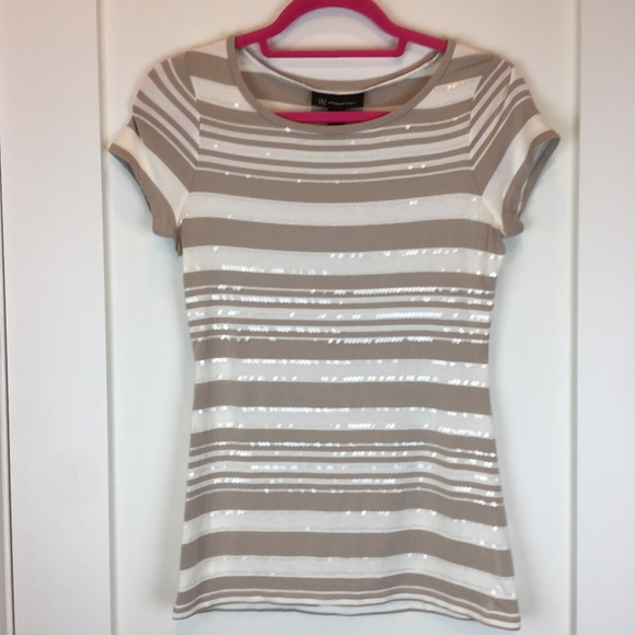 INC International Concepts Tops - INC Tan White Sequins Striped Stretch Tee M